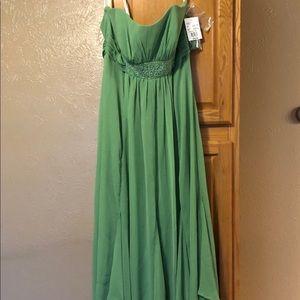 David's Bridal bridesmaid gown green, size 10